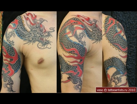 Dragon Tattoo  Vasovasiko Tattoo  Japanase Tattoo Black Grey Arm