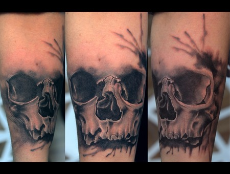 Skull Tattoo  Vaso Vasiko Tattoo    Black Grey Arm
