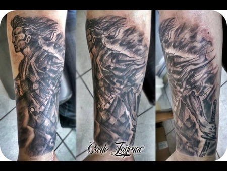 Samurai Freehand Black Grey Arm