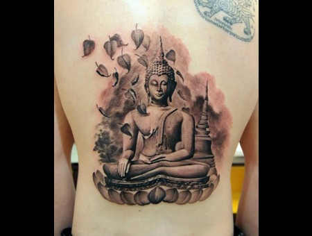 Buddha Tattoo  Black & Grey Black Grey Back