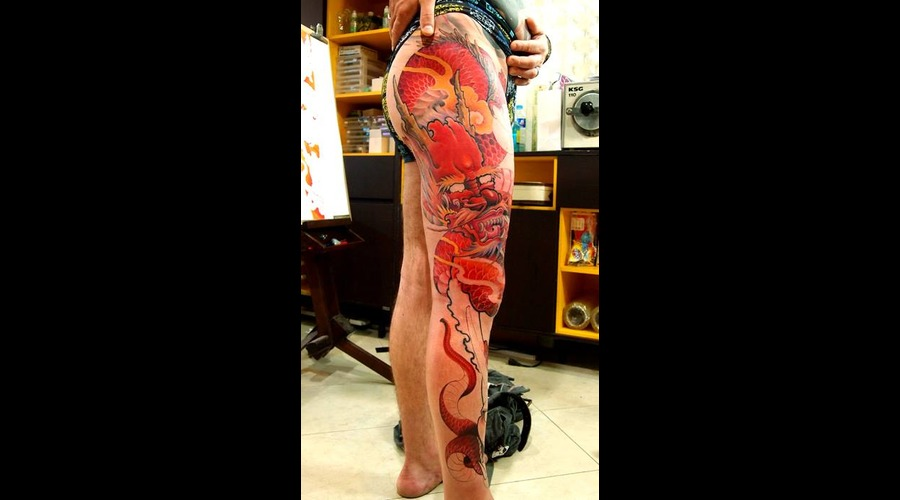 Full Leg Tattoo  Red Dragon Color Lower Leg