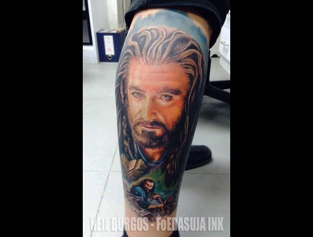 Pinatikai 2014 Tattoo Of The Day Entry   Thorin Oakenshield  The Hobbit Color Lower Leg