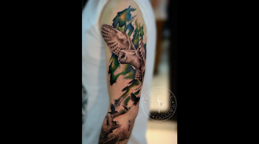 Owl Black Grey Arm