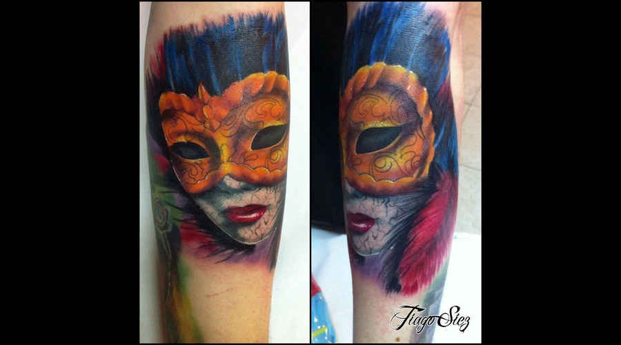 Color Tattoo  Venetian Mask Color Arm
