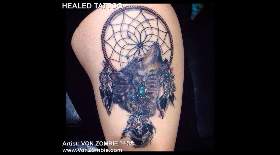 Realism  Portrait  Wolf  Dream Catcher Color Thigh