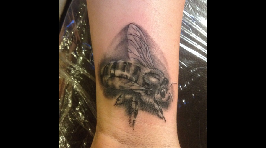 Photo Realistic  Bee  Insect  Tattoo  Tiny  Real Black Grey Forearm