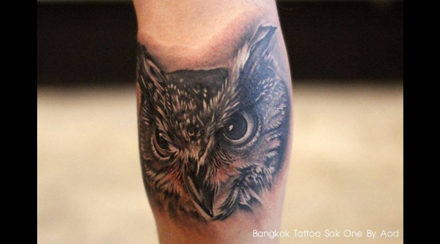 Realistic Tattoo  Owl Tattoo Black Grey Lower Leg