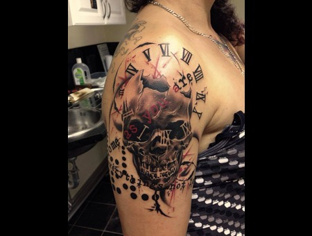 Trash Polka Trashpolka Skull Clock Time Butterfly Color Arm