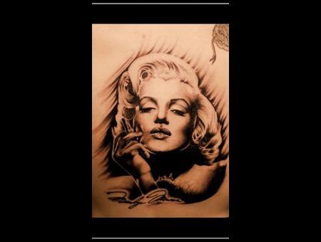 Marilyn Monroe Portrait Realism Black Grey Back
