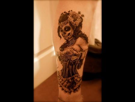 Pinup Gypsy Girl Realism Mexican Black Grey Lower Leg