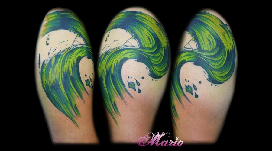 Japanese Wave  Watercolour  Paint Color Shoulder