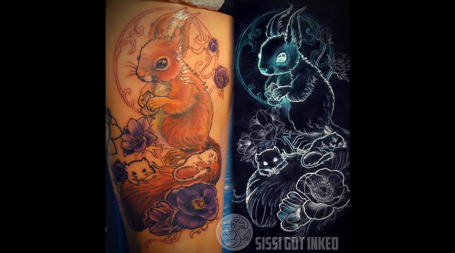 Squirrel Flowers Color Thigh