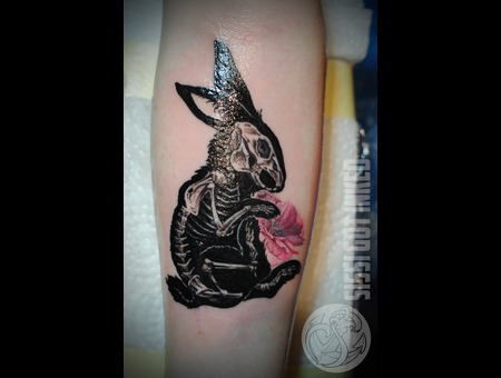 Skeleton Bunny Cherry Blossom Color Forearm