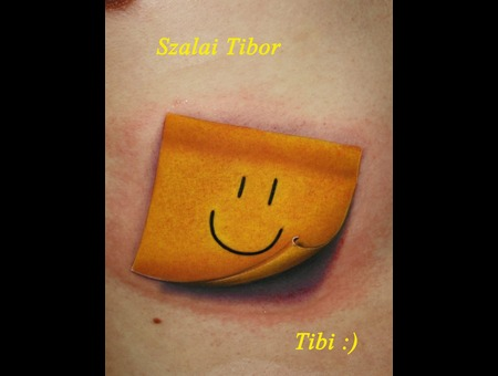 Post It  Smiley  Smile  Small Tattoo  Color  Yellow Tattoo Color Ribs