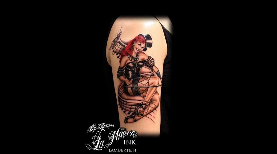 Pin Up Tattoo Color Shoulder