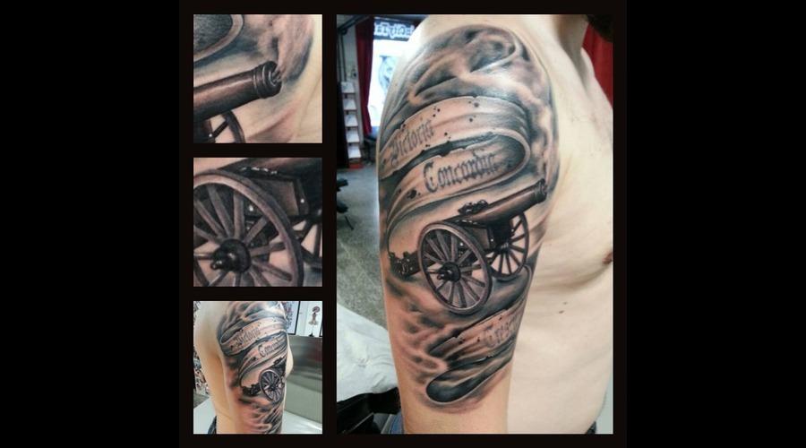 Arsenal Fan Tattoo Black Grey Arm