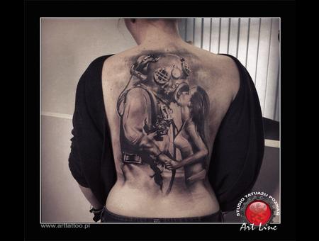 Diver  Women  Realistic Tattoo  Sea   Black Grey Back