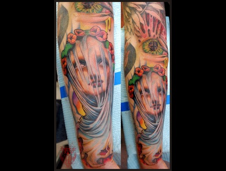 Veil Angel Heaven Hell Creepy  Color Forearm