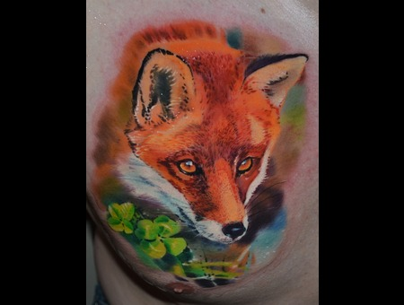 Color Tattoo   Fox Tattoo Color Chest