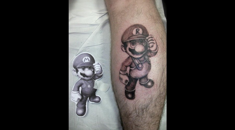 Mario  Personalised  Black And Grey Black Grey Lower Leg