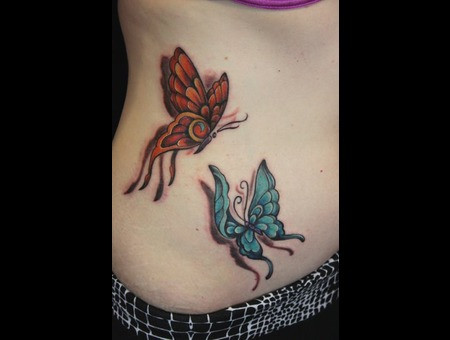 Free Hand Butterflies  Color