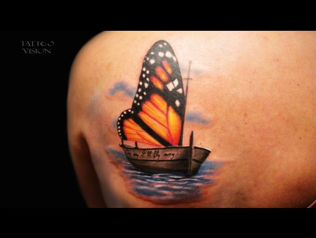 Butterfly Ship Color Back