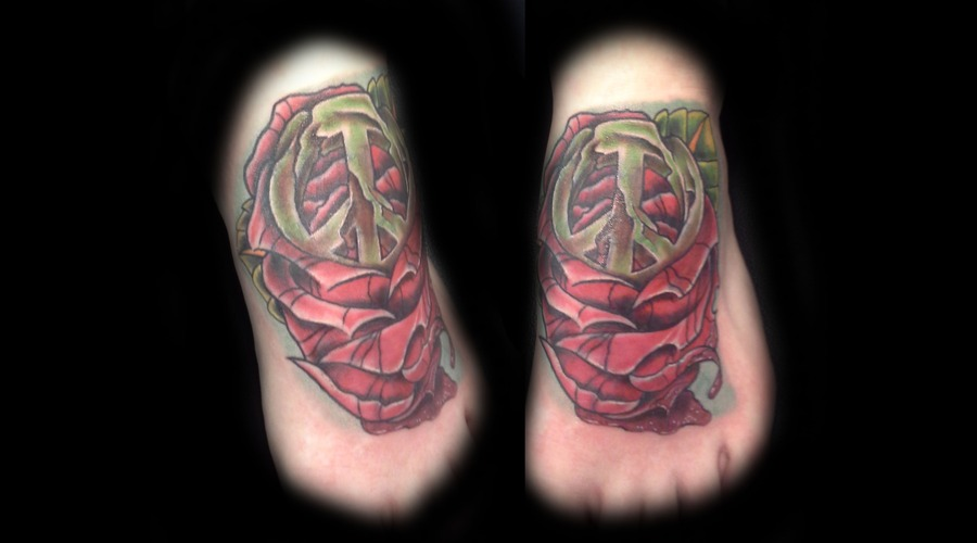 Cover Up  Rose  Peace Sign   Color Foot