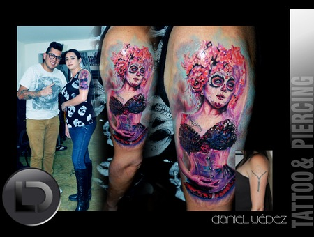Cover Up  Tattoo Color Catrina Mujer Realismo Black Grey Arm