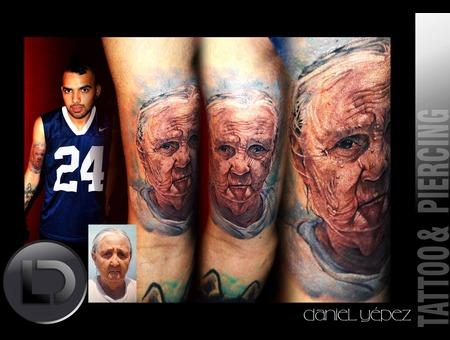 Tattoo Color Real Retrato  Abuela Color Arm