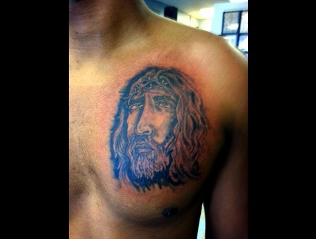 Jesus Freehand Freestyle Black Grey Chest