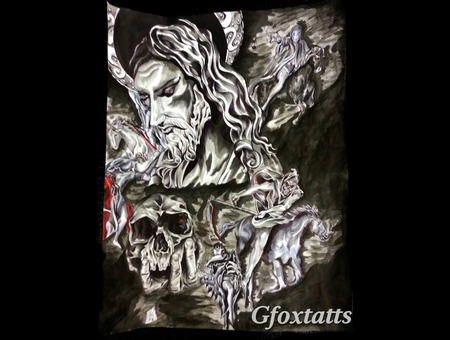 Jesus  Skull 4horsemen Artwork Tattoo Concept Black Grey Back
