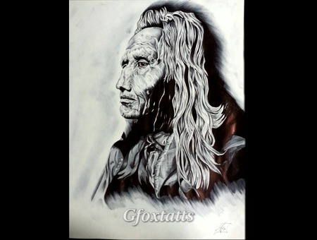 Native American Portrait  Tattoo Concept Chief Black Grey Back