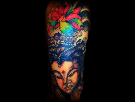 Buddha Hindu Freehand Cover Up Color Arm