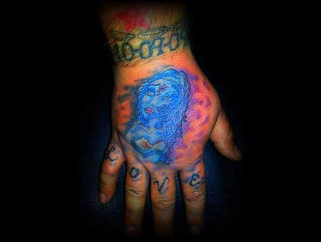 Hand Tattoo  Girl Zombie Bride Freehand Color Arm