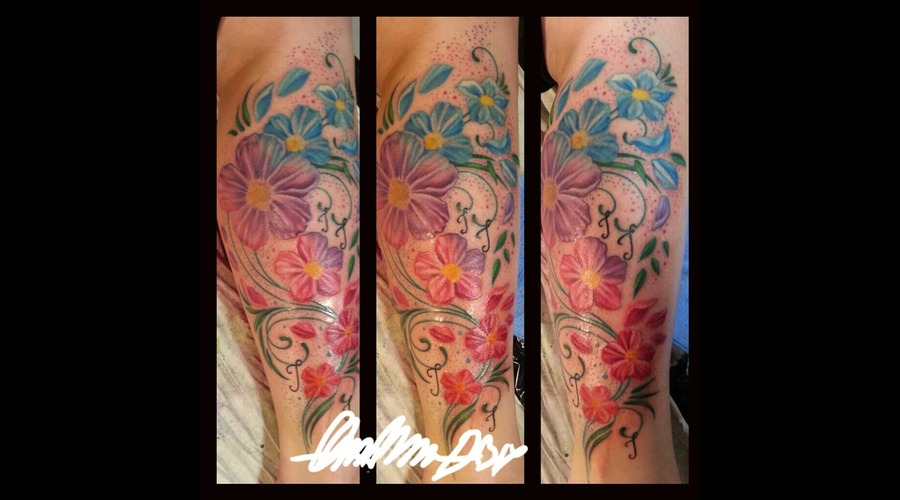 Colorful Flower Tattoo Color Lower Leg
