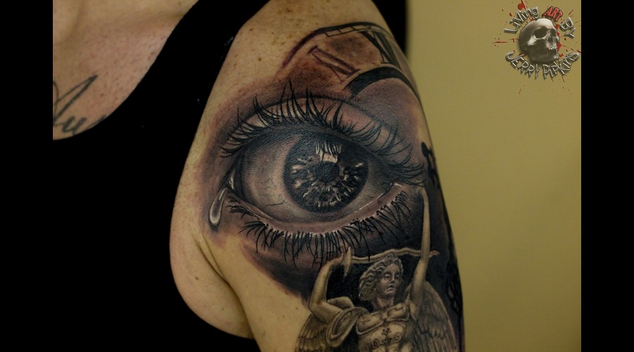 Eye  Realistic  Sleeve Black Grey Arm