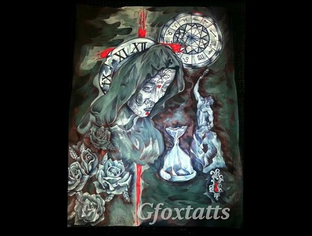 Custom Design Hour Glass Day Of Dead Virgin Zodiac Roses Black Grey Back