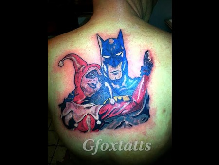 Batman Harley Quinn Comic Tattoo Back Tattoo Freehand Cover Up Color Back