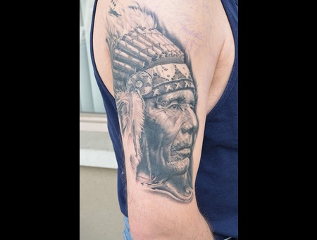 Indian  Native American  Black And Grey  Abstract  Portrait Black Grey Arm