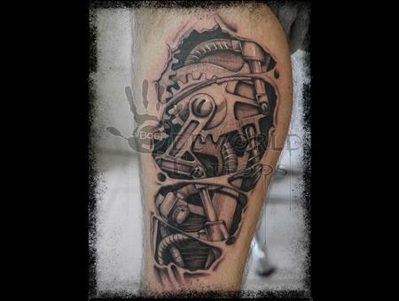 Bio Mech Steampunk Gear Tattoo Mechanical Tattoo. Black Grey Lower Leg
