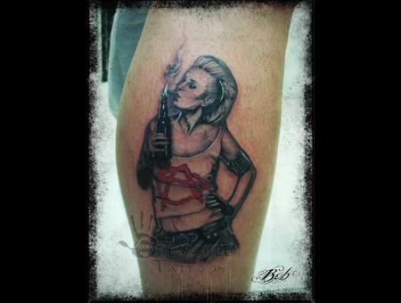 Anarchy Girl  Punk Woman Molotov Girl  Punks Not Dead. Black Grey Lower Leg