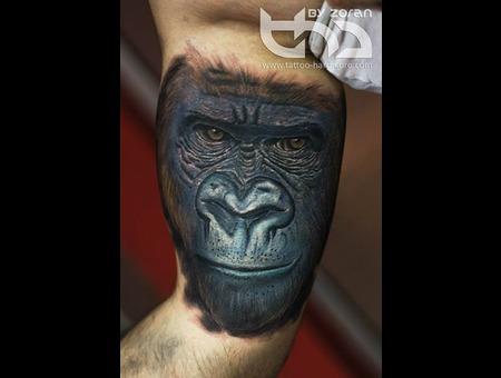 Gorilla  Portrait  Realistic  Color  Tattoo  Zoran Color Arm