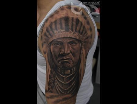 Native American  Portrait  Realistic  Tattoo  Zoran Black Grey Shoulder