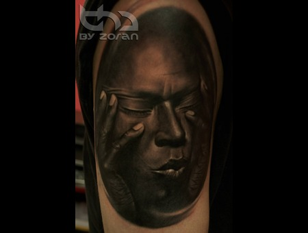Miles Davis  Portrait  Realistic  Tattoo  Zoran Black Grey Shoulder