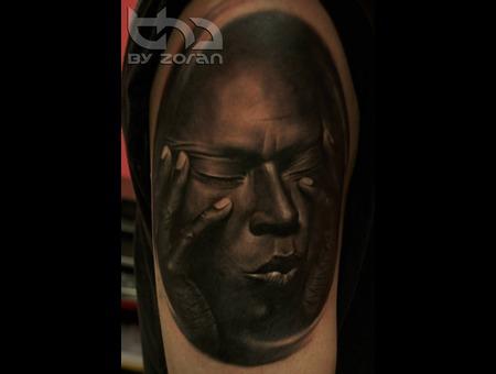 Miles Davis  Portrait  Realistic  Tattoo  Zoran Black Grey Shoulder