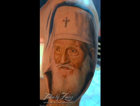 Patriarch  Portrait  Color  Realistic  Tattoo  Zoran Color Shoulder