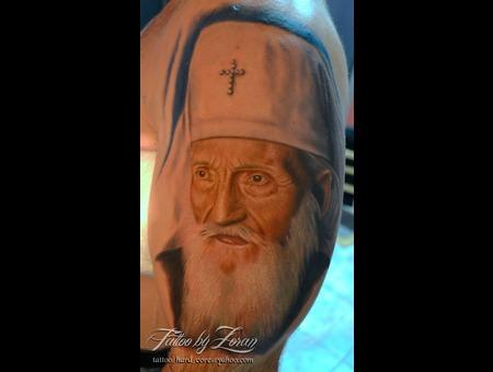 Patriarch  Portrait  Color  Realistic  Tattoo  Zoran Color Shoulder