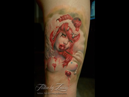 Cherry  Hussar  Color  Portrait  Realistic  Tattoo  Zoran Color Thigh