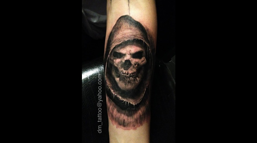 Death  Grimreaper  Skull Black Grey Arm