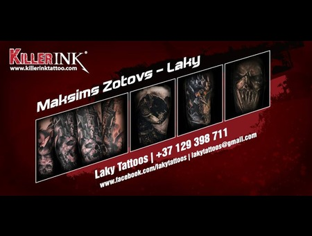 Killer Ink Tattoo Supply Sponsor  Banner  Black Grey Arm